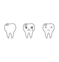 Teeth of bad set icons vector