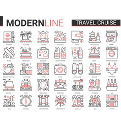 travel cruise complex thin red black line icon vector image