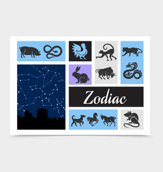 vintage chinese zodiac signs composition vector image