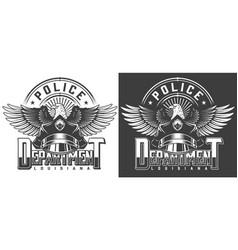 Vintage monochrome police label vector