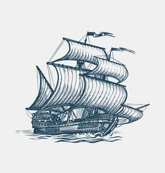 vintage sailing ship seafaring sailer concept vector image