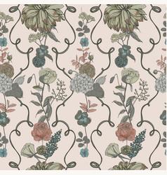 Vintage wallpaper background floral seamless vector