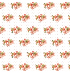 Watercolor Retro flowers on dotted pattern vector image
