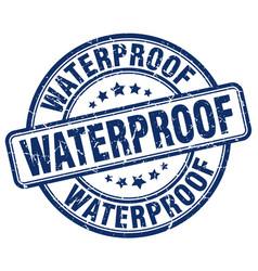 Waterproof blue grunge stamp vector
