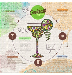 Web site design Decorative cocktail Menu design vector image