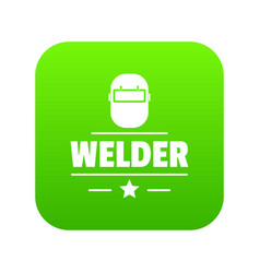 welder mask icon green vector image
