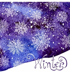 Winter background with snowflakes Painting vector image