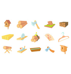 Wood object icon set cartoon style vector