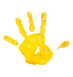 Yellow children hand print vector
