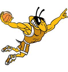 Yellow jacket sports logo mascot basketball vector