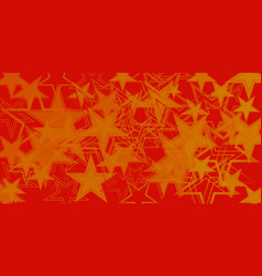 yellow metallic background in red and orange stars vector image