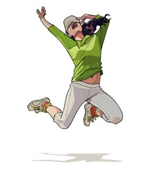 cartoon girl jumping vector image