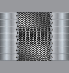 metal perforated background with side plates and vector image vector image