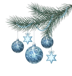Blue christmas balls on green spruce branch vector image vector image