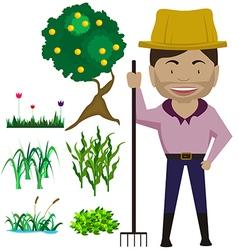 cartoon charecter farmer vector image
