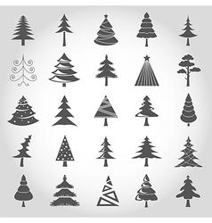 Christmas tree icon set Flat design Monochrome vector image vector image