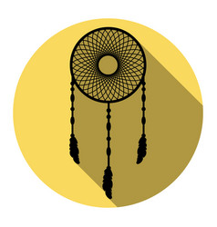 dream catcher sign flat black icon with vector image vector image