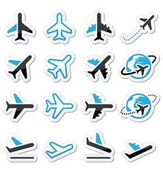 Plane flight airport black and blue icons set vector image vector image