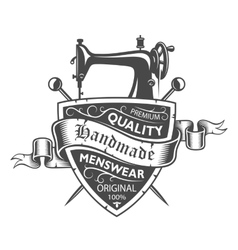 Tailor emblem with sewing machine vector image