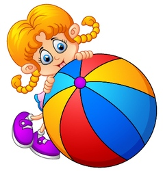 Cartoon little girl holding ball vector image vector image