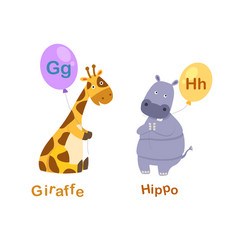 isolated alphabet letter g-giraffeh-hippo vector image