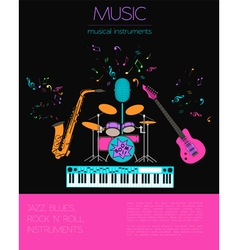Musical instruments graphic templateJazz blues vector image