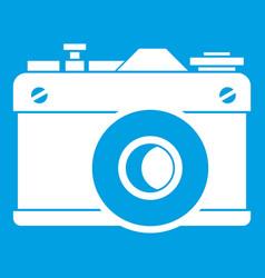 retro camera icon white vector image vector image