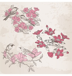 Retro - Flowers and Birds vector image vector image
