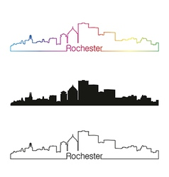 Rochester skyline linear style with rainbow vector image vector image