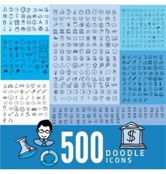Set of 500 doodle icon vector image