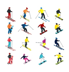 Skiing isometric set vector image