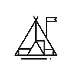 tourist tent line icon camping sign and symbol vector image