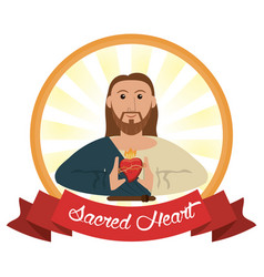 jesus christ sacred heart religious vector image vector image
