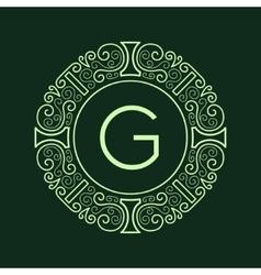 Luxury Vintage Green Frame for Monogram vector image vector image
