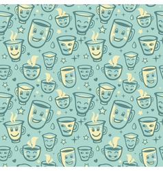 seamless pattern with tea cups vector image vector image