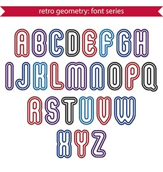 Smooth retro geometric characters set rounded vector image