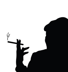 woman with cigarette black vector image vector image