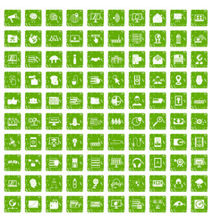 100 cyber security icons set grunge green vector