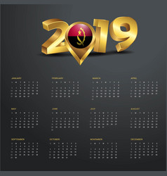 2019 calendar template angola country map golden vector image