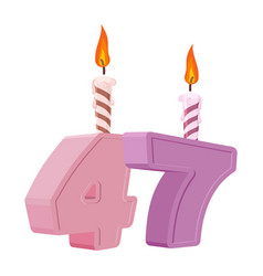 47 years birthday number with festive candle for vector image