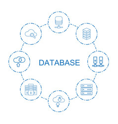 8 database icons vector