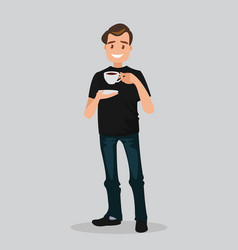 a man holds a cup of coffee vector image