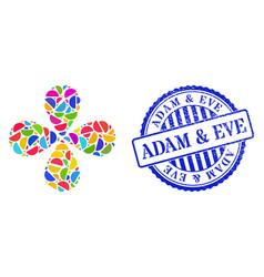Adam eve grunge seal and semisphere bright twirl vector