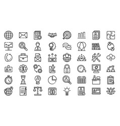 Administrator icons set outline style vector