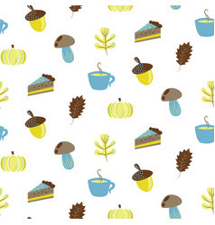 autumn harvest objects pumpkin acorn pie vector image