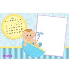 Babys calendar for april 2011 vector image