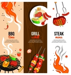 Barbecue Party 3 Vertical Banners Set vector image