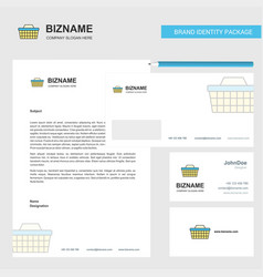 Basket business letterhead envelope and visiting vector