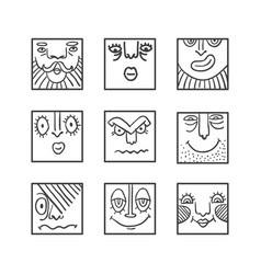 Big avatar doodle icons collection vector