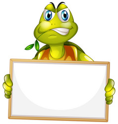 Blank sign template with angry turtle on white vector